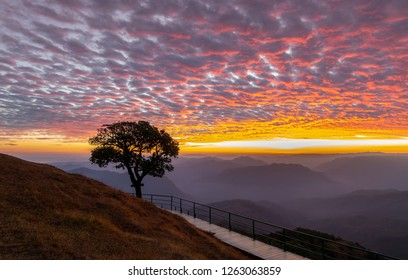 Sunrise and beautiful clouds sky at DOI PUI CO , View of the mist and sunrise and sunset of the famous in Mae Hong Son Province, Thailand.