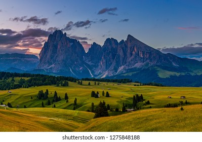 Sunrise in beautiful landscape of Alpe di siusi - Seiser alm in Dolomite, Italy
