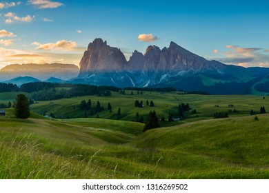 Sunrise in beautiful landscape of Alpe di siusi - Seiser alm in Dolomite, Italy.