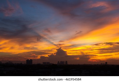 Sunrise , beautiful sky and cloud with mini city in the morning , Silhouette