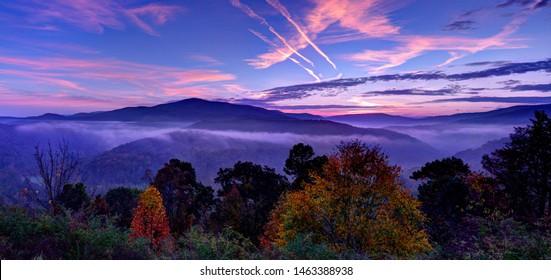 Sunrise behind Bickle Knob Mountain