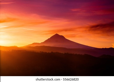 Sunrise behind Mount Hood from Jonsrud Viewpoint.