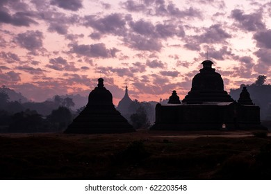 Sunrise behind pagoda in Mrauk-u, Myanmar.