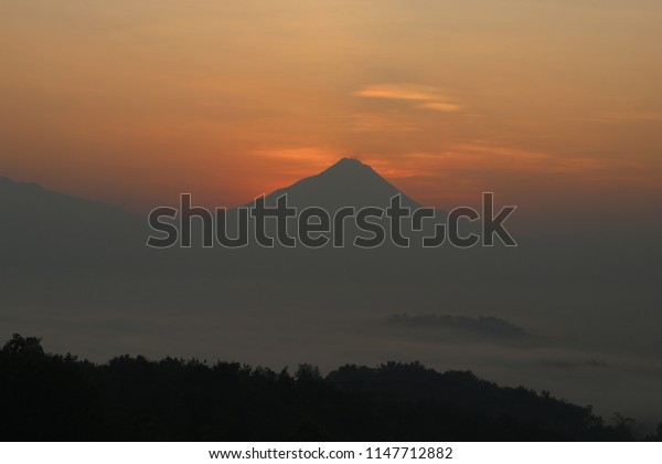 sunrise behind volcano in indonesia plant silhouette