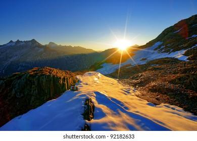 Sunrise below grimsel, bernese uplands, switzerland