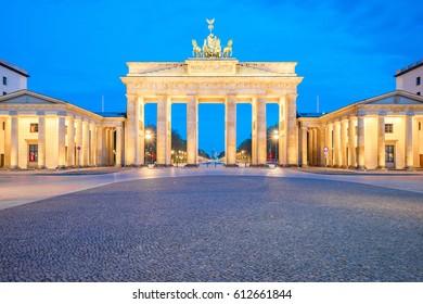 Sunrise in Berlin, The Brandenburg Gate in Berlin at night, Germany.