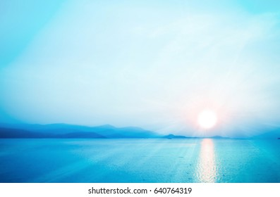 Sunrise  with  blue sky and sea  background  soft focus