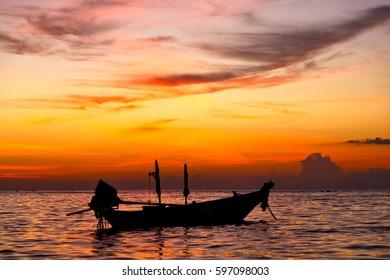 sunrise boat  and sea in thailand kho tao bay coastline south china sea
