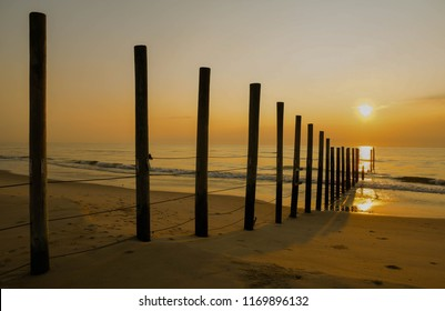 Sunrise at the border between North Carolina and Virginia on the Outer Banks in summer