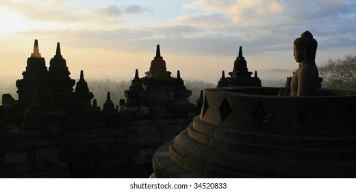 Sunrise at Borobodur temple, Yogyakarta, Indonesia