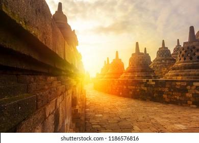Sunrise at Borobudur. Ancient Borobudur Buddhist temple. Great religious architecture. Magelang, Central Java, Indonesia