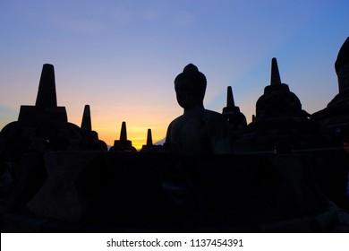 sunrise at borobudur temple