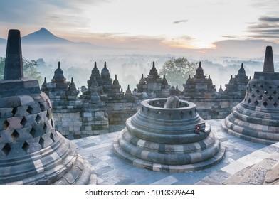 Sunrise at Borobudur Temple, Yogyakarta, Java, Indonesia.