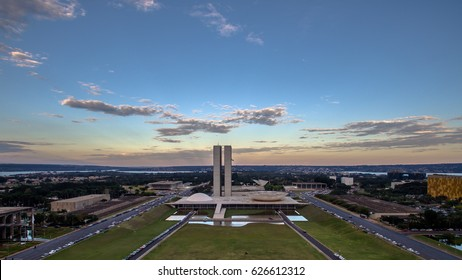 Sunrise in Brasilias showing Congresso Nacional building.