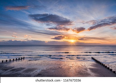 Sunrise at Bridlington Beach, East Riding of Yorkshire, UK