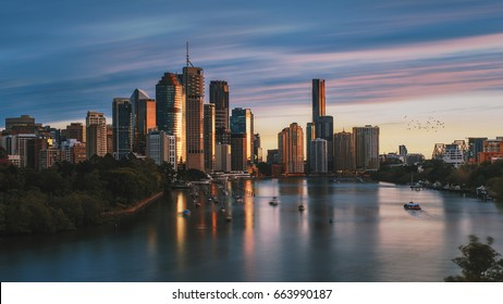 Sunrise in Brisbane City, shot from Kangaroo Point