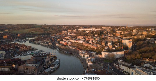 A sunrise in Bristol, UK at the harbour in December 2017.
