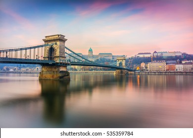 sunrise at budapest chain bridge, hungary