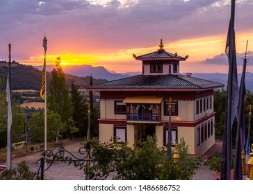 Sunrise in a Buddhist temple Dag Shang Kagyu in Panillo huesca Aragón Spain