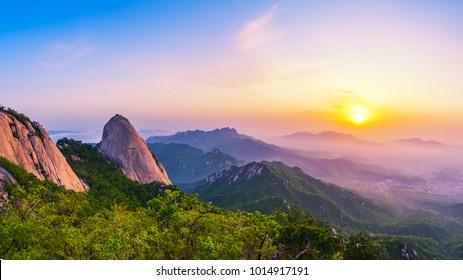 Sunrise of Bukhansan mountain in Seoul City. Bukhansan National Park, South Korea