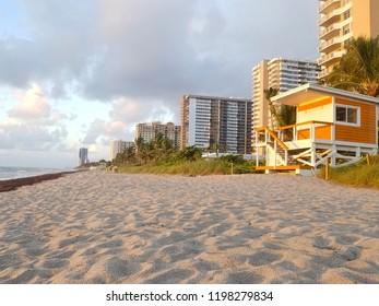 Sunrise and cabin on the beach, Miami Beach, Florida, USA
