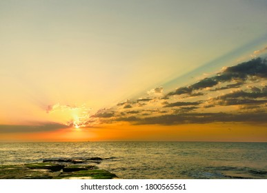 Sunrise at Cabo Cervera in Torrevieja, Alicante province in Spain. Horizontal shot with space for text.