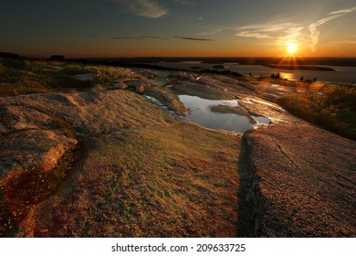 Sunrise at Cadillac Mountain Acadia National Park, Maine, USA