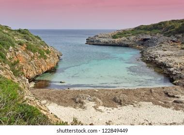 Sunrise in the Cala Brafi beach in Majorca at dawn