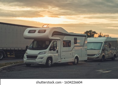 sunrise with campervan mobile home campervan fuels in gas station for an outdoor nomad lifestyle camper van caravan vehicle for van life holiday on motor home journey camping in the parking