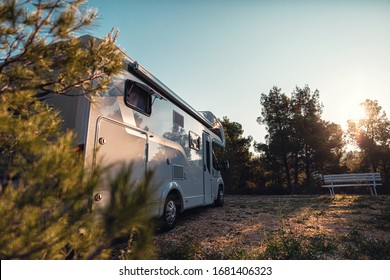 sunrise with campervan mobile home campervan for outdoor nomad lifestyle camper van caravan vehicle for van life holiday on motor home journey camping in the parking