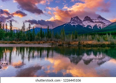 Sunrise in Canmore overlooking Three Sisters