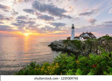 Sunrise from Cape Elizabeth, Maine of Portland Head Lighthouse