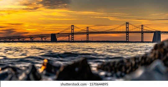 Sunrise at the Chesapeake bay bridge Annapolis Maryland