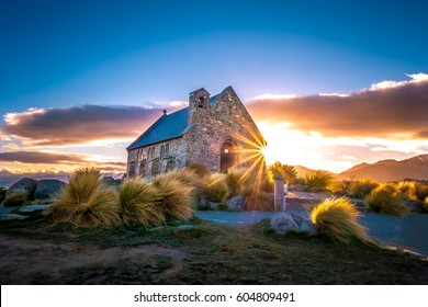 Sunrise at Church of the Good Shepherd, Lake Tekapo, South Island, New Zealand
