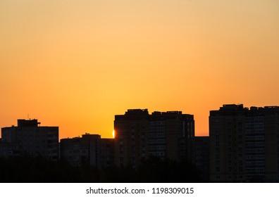 sunrise in a city