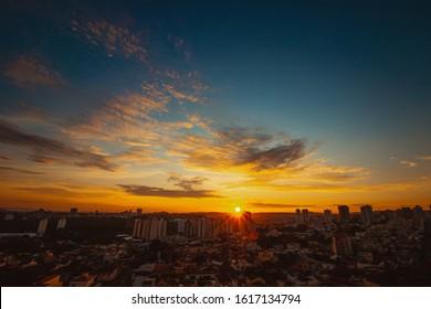 Sunrise at city of Ribeirao Preto in Brazil.