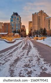 Sunrise city street to downtown Calgary