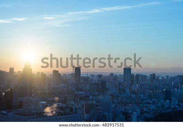 sunrise in the city view
