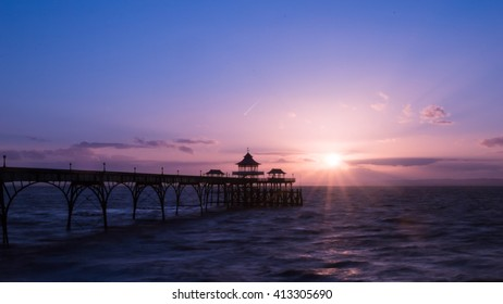 Sunrise Clevedon Pier England D panorama blue