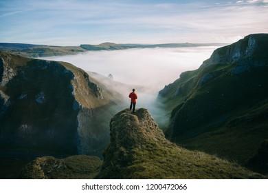 Sunrise cloud inversion over Winnats Pass in the Peak District, UK.