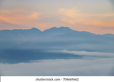 Sunrise of cloud sea and mountain at sixty Stone Mountain in Hualien, Taiwan