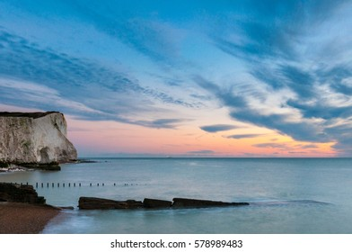 Sunrise and cloud at Seaford Head, one of the chalk cliffs that lead to the Seven Sisters Country Park.
