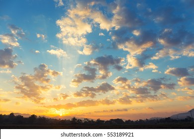 Sunrise and cloud in sky for background.