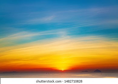 Sunrise in clouds over South China sea, Vietnam, Nha Trang