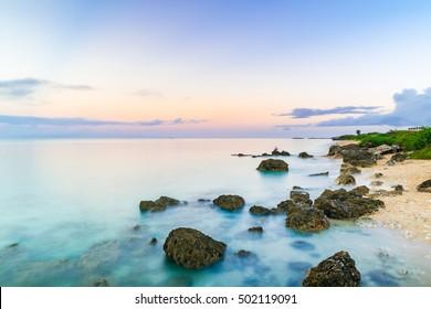 Sunrise, coast, landscape. Okinawa, Japan.
