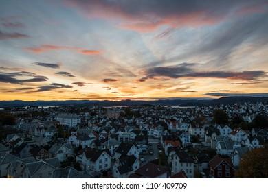 Sunrise colorful sky over Stavanger Norway