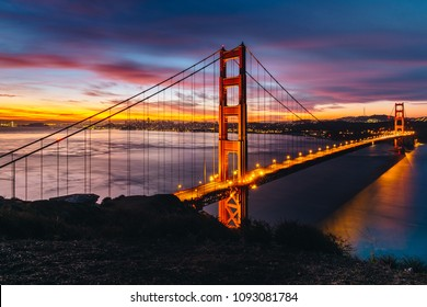 sunrise colorful time Golden gate bridge top view at Battery spencer