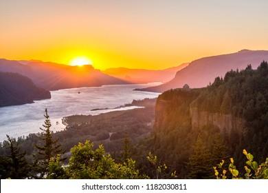 Sunrise at Columbia River Gorge, Oregon-USA