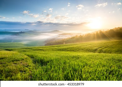 Sunrise in Crete Senesi region, Tuscany, Italy