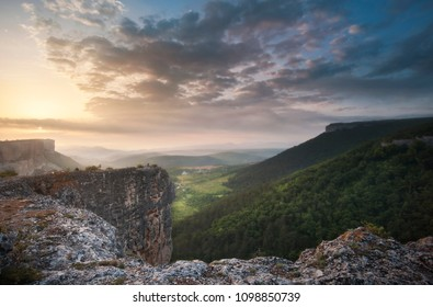 Sunrise in the Crimean Mountains, Bakhchisaray, Alimova Balka and the Kacha River Valley - view of Kachi-Kalon